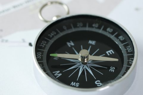 Compass on a city map